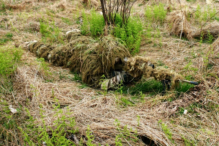 sniper camouflage with ghillie suit